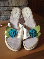 EUC Me Too Espadrilles - Wedge Heel - Ivory Leather - Turquouse Flower - Size 10