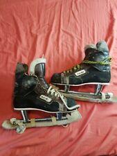 Vintage BAUER Hockey Ice Skates Size 10 2/3 W/ cooper Blade Guards Mid century