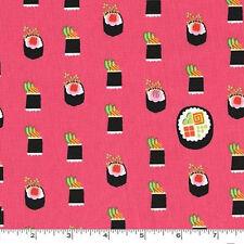 FAT QUARTER-Maki Sushi Japan Salmon Pink Fabric Michael Miller DC7464-SALM-D