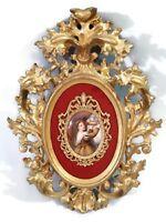 Antique French Porcelain Miniature Portrait Painting Gilded Wood Frame Plaque