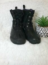 Sperry Women's Black and Purple Quilted Duck Rubber Waterproof Boots Size 8.5