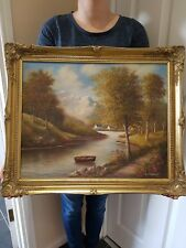 Lovely Vintage oil painting on canvas  in gold gilt frame