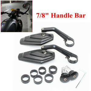 """Motorcycle Left&Right Mirrors 7/8"""" 22MM End Bracket Handle 360° Rotating Joint"""