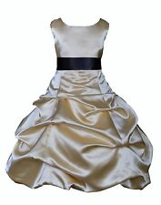 New Gold Flower Girl Dress Formal Occasion Wedding Size 2 2T 4 6 7 8 10 12 14 16