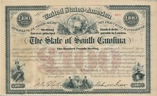6% State of South Carolina Sterling, Originalunterschrift Robert Scott, Gov.