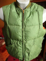 LARGE TRUE VTG 70's TIMBERLINE GREEN REVERSIBLE Down Puffer Ski Vest Jacket USA