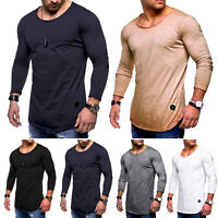 Mens Long Sleeve Sport Gym T- Shirt Casual Jogging Training Crew Neck Basic Tops