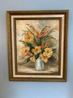 Vintage original Oil painting signed colorful Floral still life decorative frame