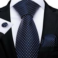 Wedding Mens Tie Navy Blue Polka Dot Silk Tie Set New White Spot Hanky Cufflinks