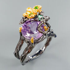FASHION JEWELRY Natural Amethyst 925 Sterling Silver Ring Size 7.25/R104876