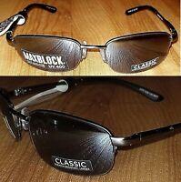 2 Pair Foster Grant Humphrey Gunmetal Half Rim 100% UV Sunglasses MSRP:$40