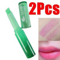 AU_ KE_ BL_ FT- 2Pcs Aloe Vera Gel Changeable Color Lipstick Long Lasting Lip Cr