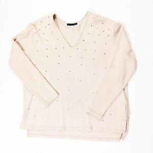 Zara W/B Collection Jewel Rhinestone Encrusted Embellished Studded VNeck Sweater