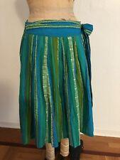 Turquoise Green Blue Tiki Stripe ODILLE Full Cotton Wrap Skirt 10 NWT