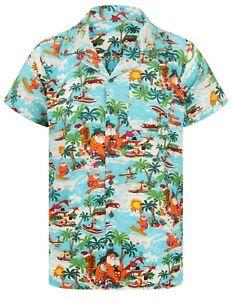 Christmas Hawaiian Shirt Mens Santa Loud Hawaii Surf Xmas Hat Party S-5XL NEW!!