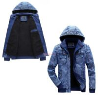 Mens Winter Warm Denim Jacket Fleece Lined Jeans Coat Hooded Long Sleeve Outwear