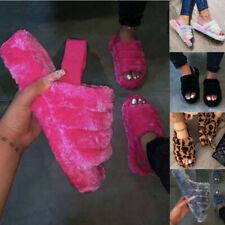 Women Fur Fluffy Sliders Slippers Slip On Flat Sandals Mules Summer Shoes Ladies