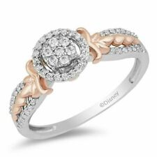 1/3 Ct Diamond Engagement Enchanted Disney Anna Composite Bridal Ring in Silver