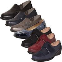 Womens Slip on Shoes Brogues Mid Wedge Heel Diamante Work Ladies Comfort Pumps