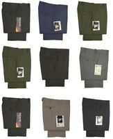 New Mens Formal Work Office Smart Trousers Pants Flat Front Size 30 - 60