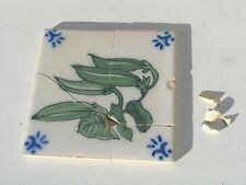 Vintage Portuguese Portugal SANT ANNA Lisboa Green Beans / Peas Tile As Shown