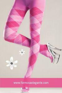 Plus-Size-Sexy-Pink-Argyle-High-Waist-Elegante-Pantyhose-Queen Size