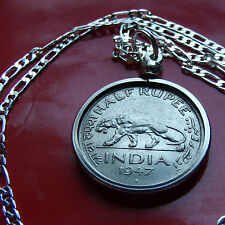 "1947 INDIA TIGER 1/2 RUPEE COIN PENDANT on a 20"" 925 STERLING SILVER Chain 25mm"