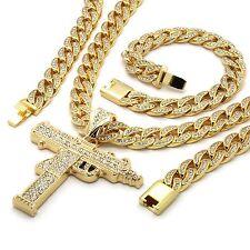Mens 14k Gold Plated Iced Out Hip-Hop Uzi Gun Pendant CZ Cuban Chain & Bracelet