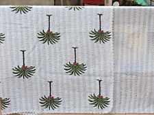 Indian Hand-Block Palm Tree Kantha Quilt Indian Cotton Bedspread Queen Size Boho