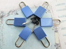 (6 Pcs) Mini cadenas Matt couleur bleue Petit Minuscule Serrure de Coffre avec Clés-Neuf
