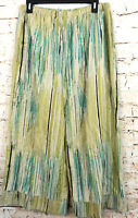 Chicos womens 3 palazzo pull on cropped capri pants Linen elastic waist cuff A8