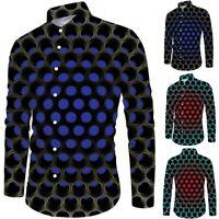 Men Long Sleeve Button Slim 3D Print Blouse Shirts V-neck Vintage Holiday Tops