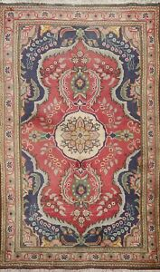 Vintage Floral Tebriz Hand-knotted Area Rug Traditional Oriental Wool Carpet 3x5