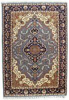 Indian Hand Knotted Medallion Rug Blue Wool 4'X6' Carpet Handmade Home Area Rugs