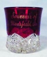 Ruby Stain Mug Souvenir Mansfield PA Button Arches Early American Pattern Glass