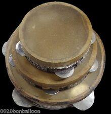 """Set 3 Wooden Inliad Tabla Drum Musical Tambourine Rik 4.8""""8.5"""" Deff Cymbals  424"""