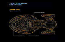Framed Print - Star Trek Blueprint USS Voyager Ventral View (Picture Poster Art)
