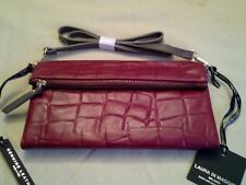 LAURA DI MAGGIO MADE IN ITALY LEATHER folded top organizer clutch-Ruby