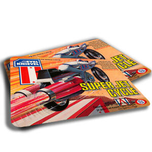 TWO RUGS 1970's Toy Action Set Box Top Evel Knievel Motorcycle Game
