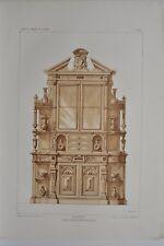 AM004 Lithographie originale buffet renaissance moderne aménagement mobilier