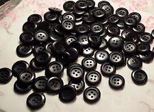 LOT 100 ANCIENS BOUTONS PLASTIQUE incurvé noir vintage 20 mm E L2