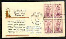 1936 FDC 3c Rhode Island Tercentenary FIRST CACHET: Hollywood Cover Club Blk/4