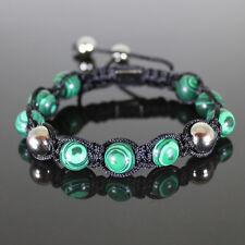 Damen Shamballa Armband  Armreifen, Jaspiskugeln,Grün ,Glücksbringer,verstellbar