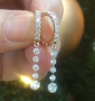 14K Yellow Gold Over 1.00 CT Round Cut VVS1 Diamond Hoop Dangle Earrings