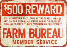 Farm Bureau Reward for Crimes Vintage Reproduction Metal Sign 8 x 12