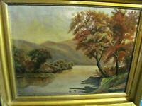 Vintage/Antique Hudson River School Tonal Oil on Canvas Painting