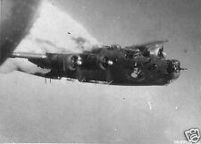 "US Air Force B-24M Liberator On Fire Fallersleben Germany 1944 World War 2, 5x4"""