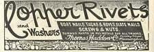 1926 Thomas Haddon Moseley Street Birmingham Copper Rivets Old Advert