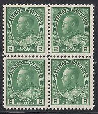 Canada 2c KGV Admiral Block, Scott 107iv, F-VF MNH, catalogue - $180