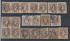 GREECE Sc 90-90a GROUP OF 20 STAMPS INCLUDING BLOCKS & STRIPS + CANCELS VF